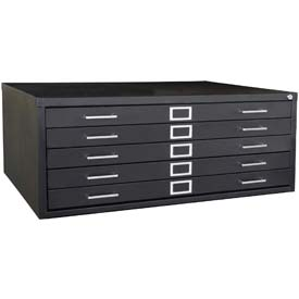 "Sandusky, 5 Drawer Flat File, 53-3/4""W x 41-5/16""D x 16-1/8""H, Black"