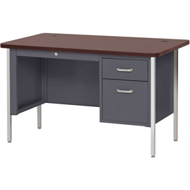 "Sandusky Single Pedestal Teacher Steel Desk - 48"" x 30"" - Charcoal/Mahogany Top"