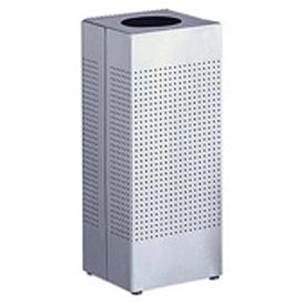 Rubbermaid® Silhouette SC10 Open Top Square Receptacle, 10 Gallon - Stainless Steel