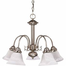"""Satco 60-181 Ballerina 5 Light 24"""" Chandelier w/ Alabaster Glass Bell Shades Brushed Nickel by"""