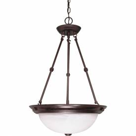 """Satco 60-211 3 Light 15"""" Pendant Alabaster Glass Old Bronze by"""