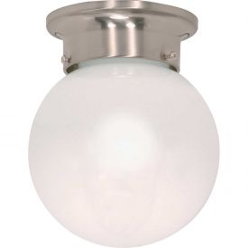 """Satco 60-245 1 Light 6"""" Ceiling Mount White Ball Brushed Nickel by"""