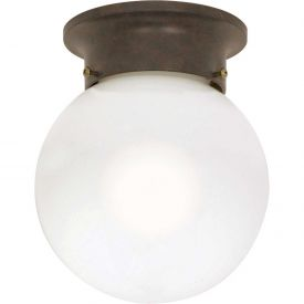 """Satco 60-247 1 Light 6"""" Ceiling Mount White Ball Old Bronze by"""