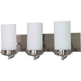 "Nuvo 60/496 Polaris-3 Light Vanity & Wall, Opal White, Brushed Nickel, 21""W X 8.25""H"