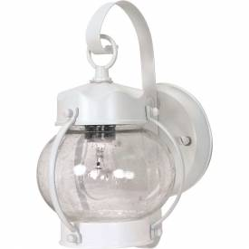 "Nuvo 60/630, 1 Light-Wall Lantern-Onion Lantern W/Clear Seed Glass, White, 6""W X 10.625""H"