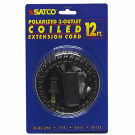 Satco 93-173 12 Ft. Coiled (Extended) Extension Cord, Black, 2 prong plug