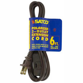 Satco 93-193 6 Ft. Extension Cord 16/2 SPT-2, Brown