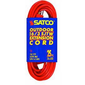 Satco 93-5005 #16/3 Ga. SJTW-3 Orange Outdoor Extension Cords 25 Ft. by