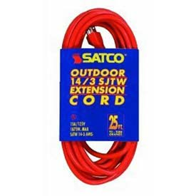 Satco 93-5009 #14/3 Ga. SJTW-3 Orange Outdoor Extension Cord 50 Ft. by
