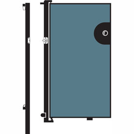 Screenflex 5'H Door - Mounted to End of Room Divider - Vinyl-Blue Tide