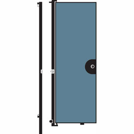 "Screenflex 6'8""H Door - Mounted to End of Room Divider - Vinyl-Blue Tide"