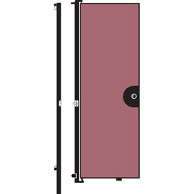 "Screenflex 7'4""H Door - Mounted to End of Room Divider - Vinyl-Raspberry Mist"