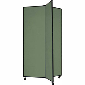 "3 Panel Display Tower, 5'9""H, Fabric - Sea Green"