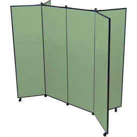 "6 Panel Display Tower, 5'9""H, Fabric - Sea Green"