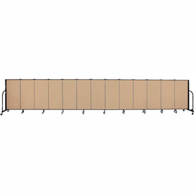 "Screenflex 13 Panel Portable Room Divider, 4'H x 24'1""L, Fabric Color: Wheat"