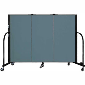 "Screenflex 3 Panel Portable Room Divider, 4'H x 5'9""L, Fabric Color: Lake"