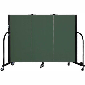 "Screenflex 3 Panel Portable Room Divider, 4'H x 5'9""L, Fabric Color: Mallard"