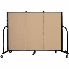 "Screenflex 3 Panel Portable Room Divider, 4'H x 5'9""L, Fabric Color: Desert"