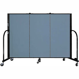 "Screenflex 3 Panel Portable Room Divider, 4'H x 5'9""L, Fabric Color: Summer Blue"