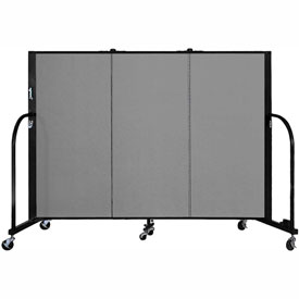 "Screenflex 3 Panel Portable Room Divider, 4'H x 5'9""L, Fabric Color: Grey"