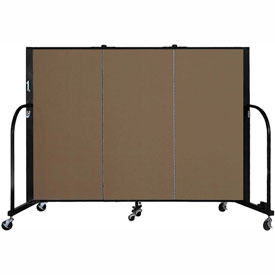 "Screenflex 3 Panel Portable Room Divider, 4'H x 5'9""L, Fabric Color: Oatmeal"