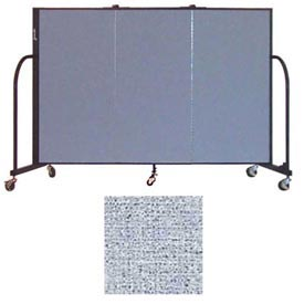 "Screenflex 3 Panel Portable Room Divider, 4'H x 5'9""L, Vinyl Color: Blue Tide"