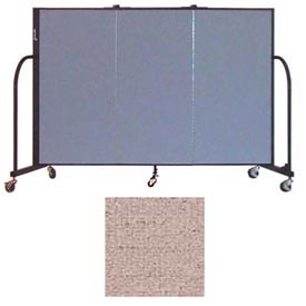 "Screenflex 3 Panel Portable Room Divider, 4'H x 5'9""L, Vinyl Color: Raspberry Mist"