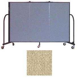 "Screenflex 3 Panel Portable Room Divider, 4'H x 5'9""L, Vinyl Color: Sandalwood"