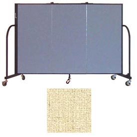 "Screenflex 3 Panel Portable Room Divider, 4'H x 5'9""L, Vinyl Color: Hazelnut"