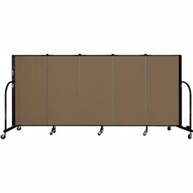"Screenflex 5 Panel Portable Room Divider, 4'H x 9'5""L, Fabric Color: Walnut"