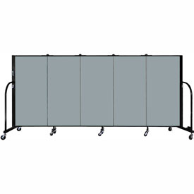 "Screenflex 5 Panel Portable Room Divider, 4'H x 9'5""L, Fabric Color: Grey Stone"