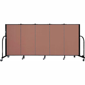 "Screenflex 5 Panel Portable Room Divider, 4'H x 9'5""L, Fabric Color: Cranberry"