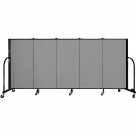 "Screenflex 5 Panel Portable Room Divider, 4'H x 9'5""L, Fabric Color: Grey"