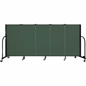 "Screenflex 5 Panel Portable Room Divider, 4'H x 9'5""L, Fabric Color: Green"