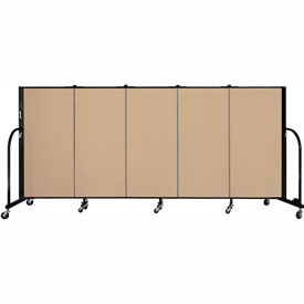 "Screenflex 5 Panel Portable Room Divider, 4'H x 9'5""L, Fabric Color: Wheat"