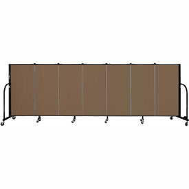 "Screenflex 7 Panel Portable Room Divider, 4'H x 13'1""L Fabric Color: Walnut"