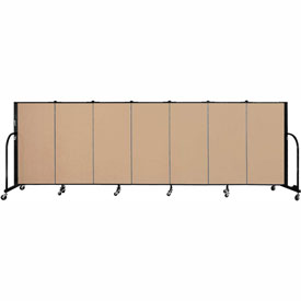 "Screenflex 7 Panel Portable Room Divider, 4'H x 13'1""L Fabric Color: Desert"
