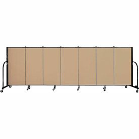 "Screenflex 7 Panel Portable Room Divider, 4'H x 13'1""L Fabric Color: Sand"