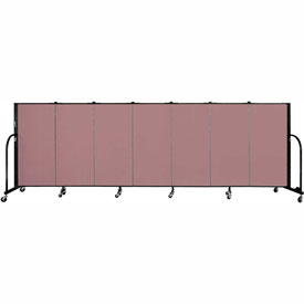 "Screenflex 7 Panel Portable Room Divider, 4'H x 13'1""L Fabric Color: Mauve"