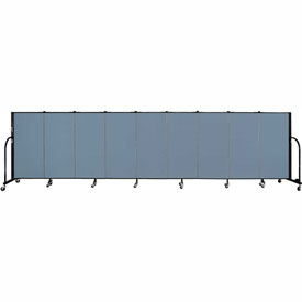 "Screenflex 9 Panel Portable Room Divider, 4'H x 16'9""L, Fabric Color: Blue"