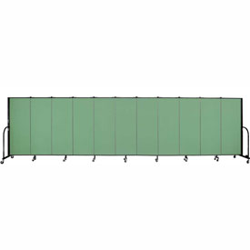 "Screenflex 11 Panel Portable Room Divider, 5'H x 20'5""L, Fabric Color: Sea Green"
