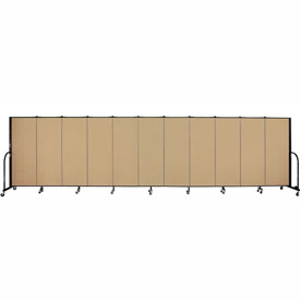 "Screenflex 11 Panel Portable Room Divider, 5'H x 20'5""L, Fabric Color: Sand"