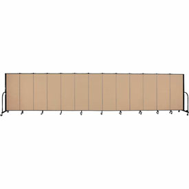 "Screenflex 13 Panel Portable Room Divider, 5'H x 24'1""L, Fabric Color: Wheat"