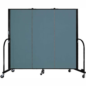 "Screenflex 3 Panel Portable Room Divider, 5'H x 5'9""L, Fabric Color: Lake"