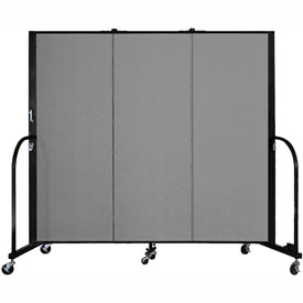 "Screenflex 3 Panel Portable Room Divider, 5'H x 5'9""L, Fabric Color: Stone"