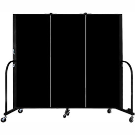 "Screenflex 3 Panel Portable Room Divider, 5'H x 5'9""L, Fabric Color: Charcoal Black"