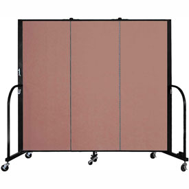 "Screenflex 3 Panel Portable Room Divider, 5'H x 5'9""L, Fabric Color: Cranberry"
