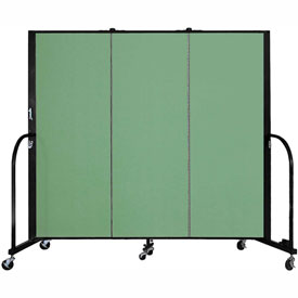 "Screenflex 3 Panel Portable Room Divider, 5'H x 5'9""L, Fabric Color: Sea Green"