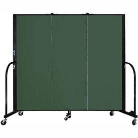 "Screenflex 3 Panel Portable Room Divider, 5'H x 5'9""L, Fabric Color: Green"