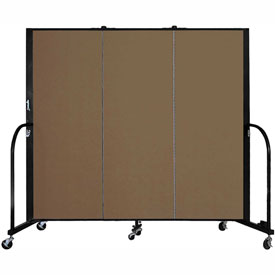 "Screenflex 3 Panel Portable Room Divider, 5'H x 5'9""L, Fabric Color: Oatmeal"